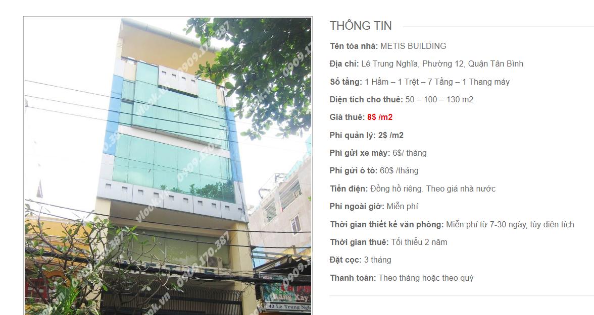 Danh sách công ty tại tòa nhà Metis Building, Lê Trung Nghĩa, Quận Tân Bình
