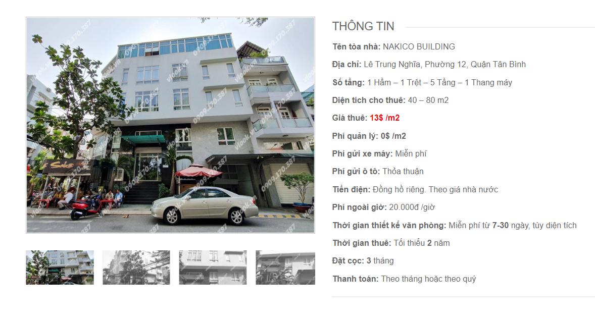 Danh sách công ty tại tòa nhà Nakico Building, Lê Trung Nghĩa, Quận Tân Bình