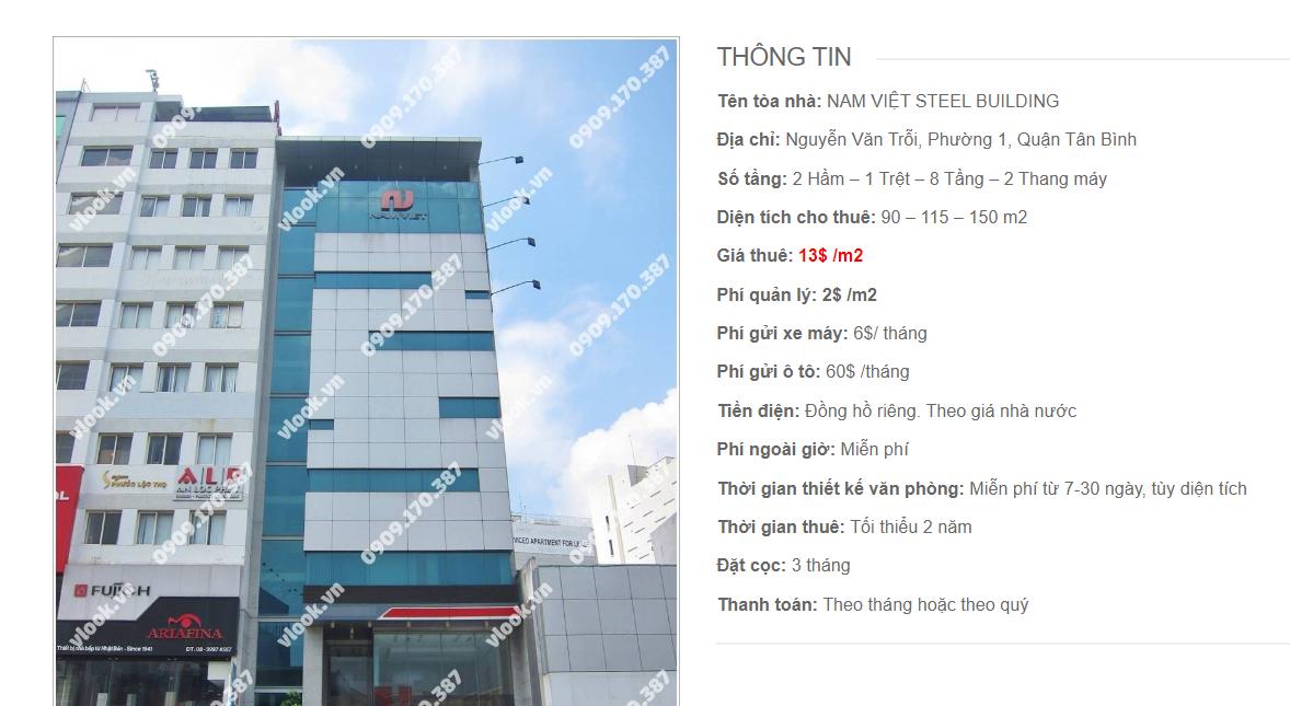 Danh sách công ty tại tòa nhà Nam Việt Steel Building, Nguyễn Văn Trỗi, Quận Tân Bình