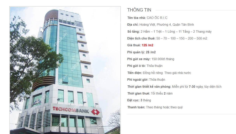 Danh sách công ty tại tòa nhà R.I.C, Hoàng Việt, Quận Tân Bình