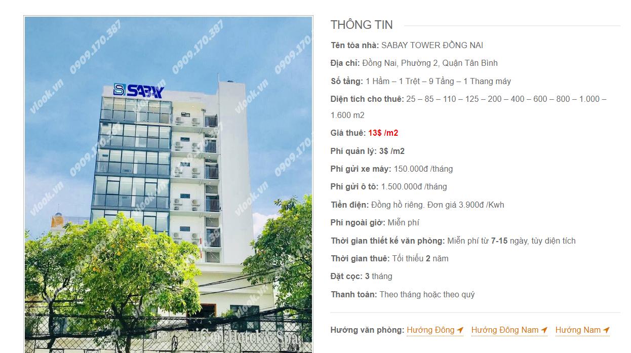 Danh sách công ty tại tòa nhà Sabay Tower Đồng Nai, Đồng Nai, Quận Tân Bình
