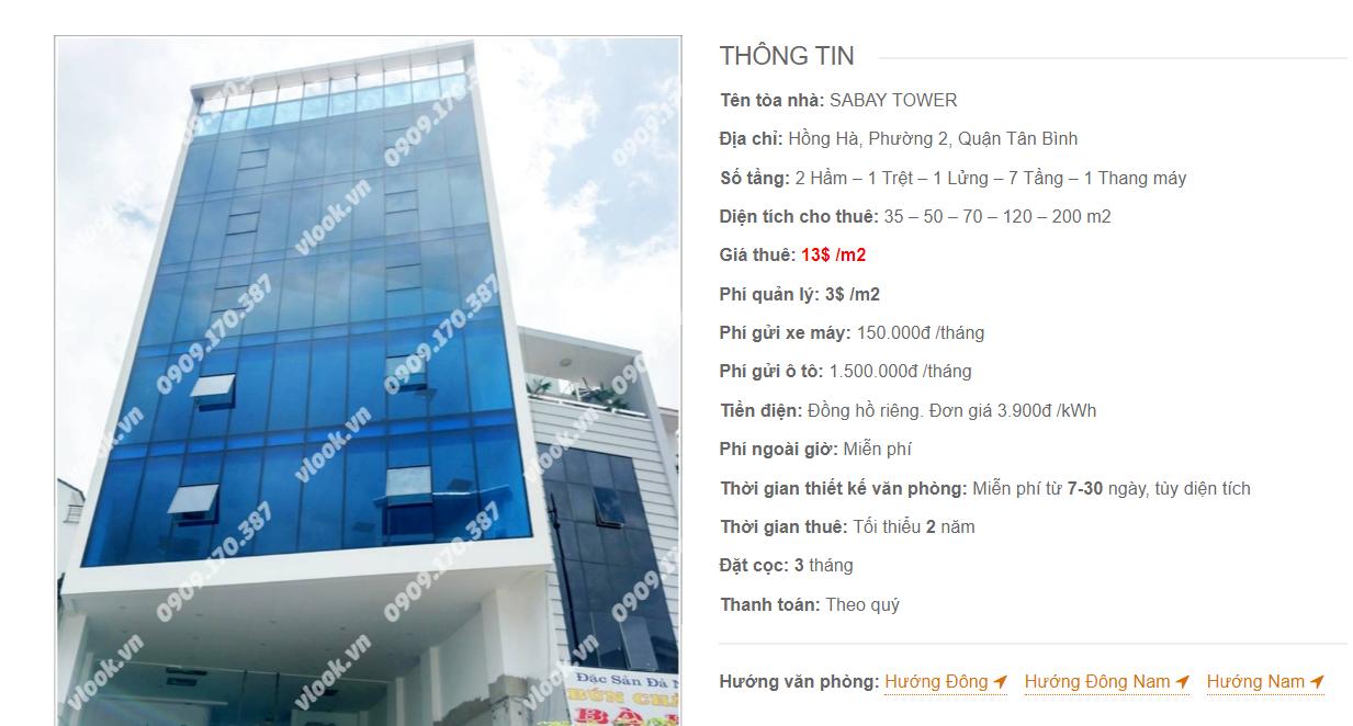 Danh sách công ty tại tòa nhà Sabay Tower Hồng Hà , Hồng Hà, Quận Tân Bình