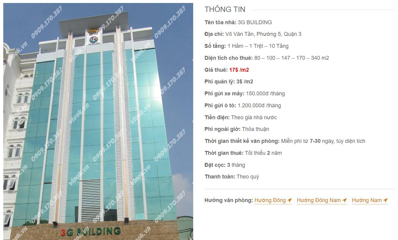 Danh sách công ty tại tòa nhà 3G Building, Quận 3