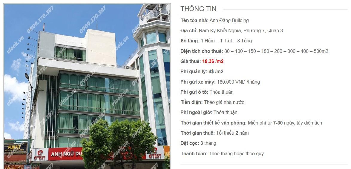 Danh sách công ty tại tòa nhà Anh Đăng Building, Quận 3