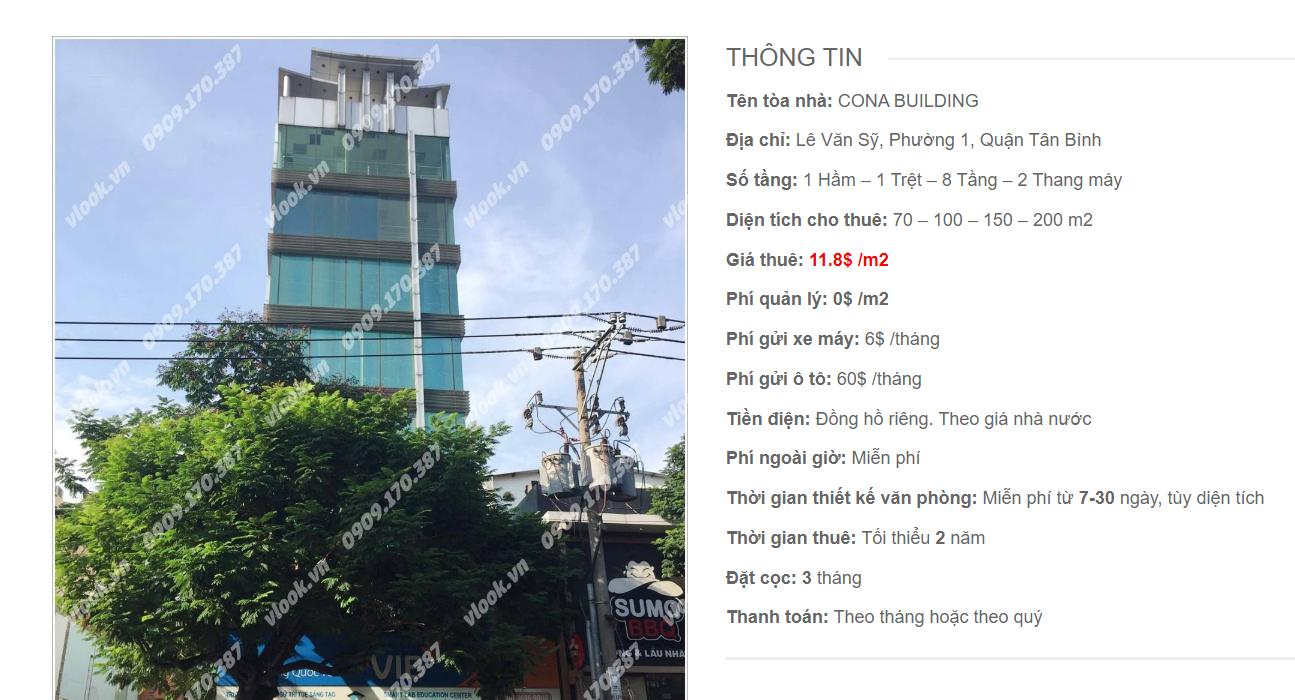 Danh sách công ty tại tòa nhà Cona Building, Lê Văn Sỹ, Quận Tân Bình