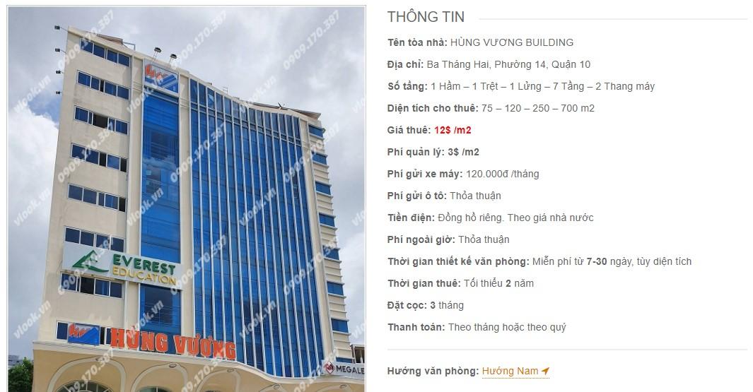 Danh sách công ty thuê văn phòng tại Hùng Vương Building, Quận 10