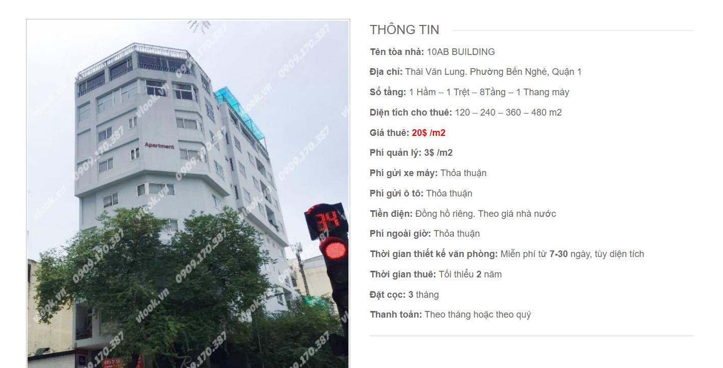 Danh sách công ty thuê văn phòng tại 10AB Building, Thái Văn Lung, Quận 1