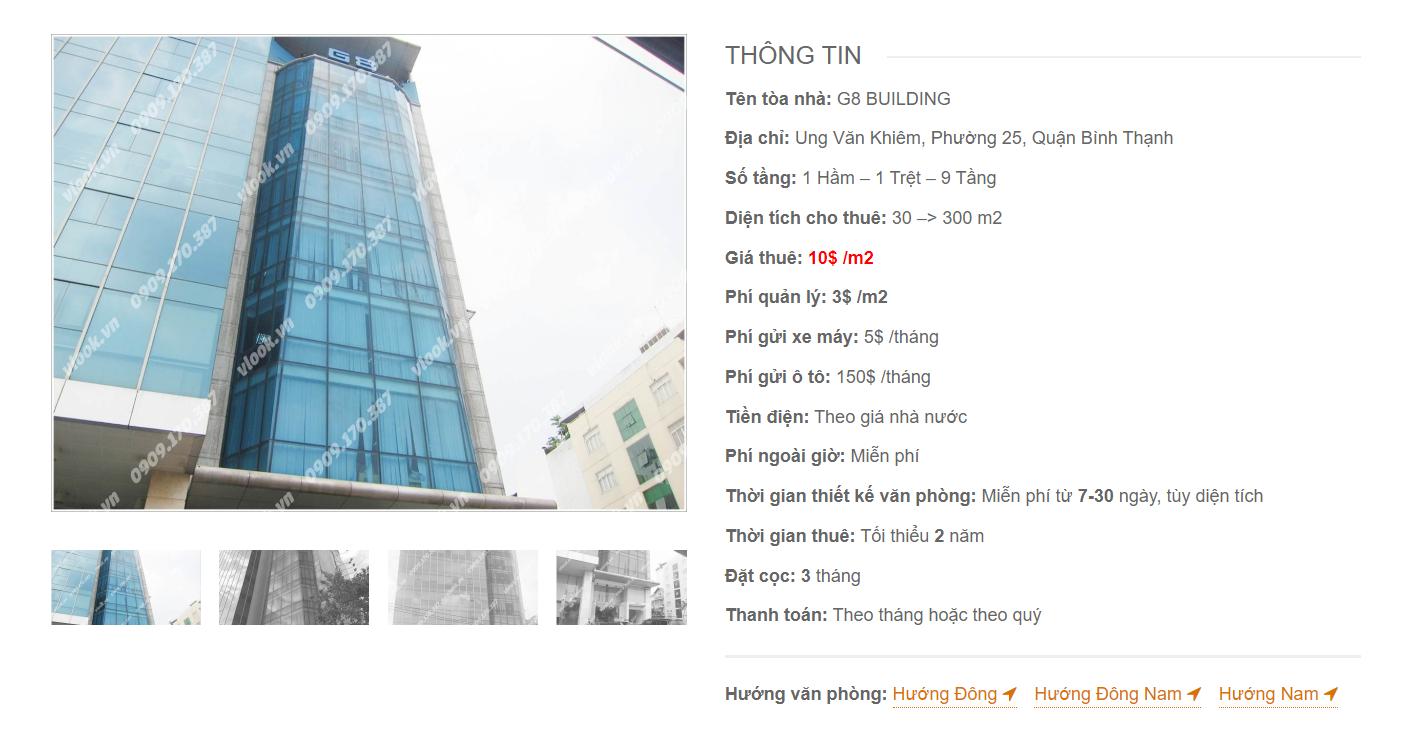 Danh sách công ty tại tòa nhà G8 Building, Ung Văn Khiêm, Quận Bình Thạnh