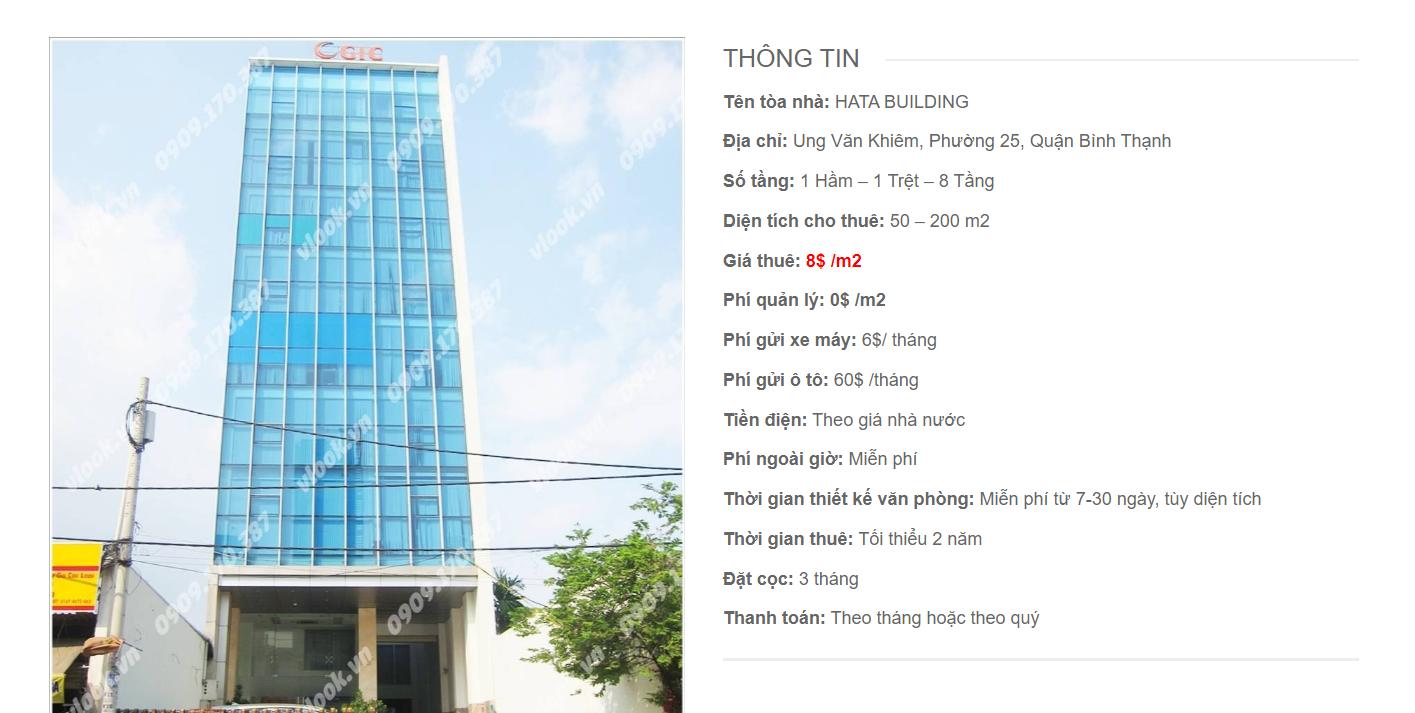 Danh sách công ty tại tòa nhà Hata Building, Ung Văn Khiêm, Quận Bình Thạnh
