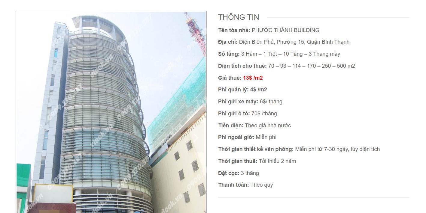 Danh sách công ty thuê văn phòng tại Phước Thành Building, Điện Biên Phủ, Quận Bình Thạnh
