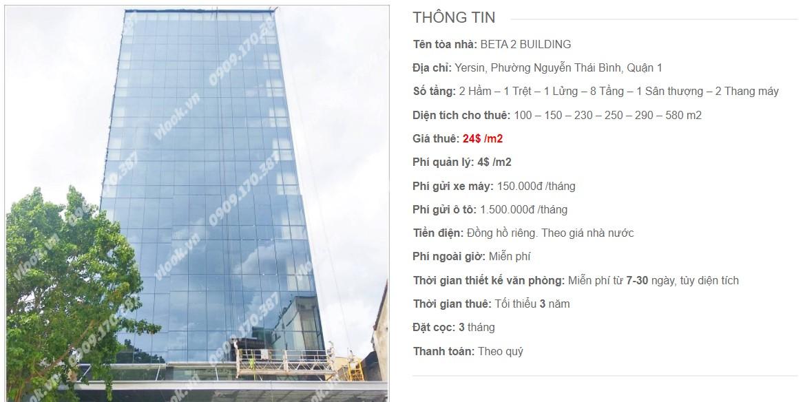 Danh sách công ty thuê văn phòng tại Beta 2 Building, Quận 1