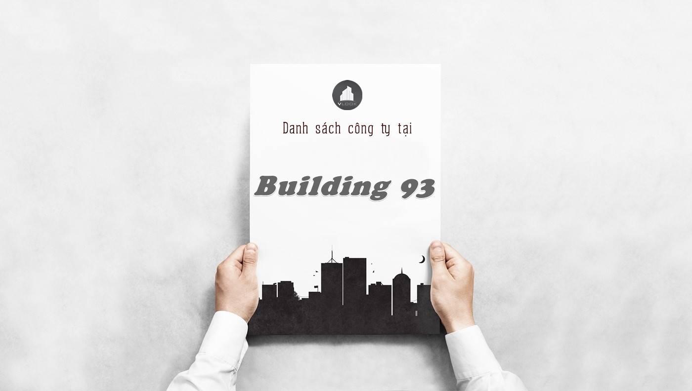 Danh sách công ty thuê văn phòng tại Building 93, Quận 1