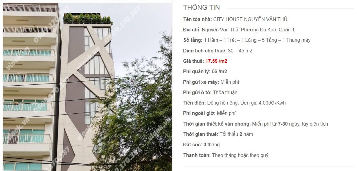 Danh sách công ty thuê văn phòng tại City House Nguyễn Văn Thủ, Quận 1