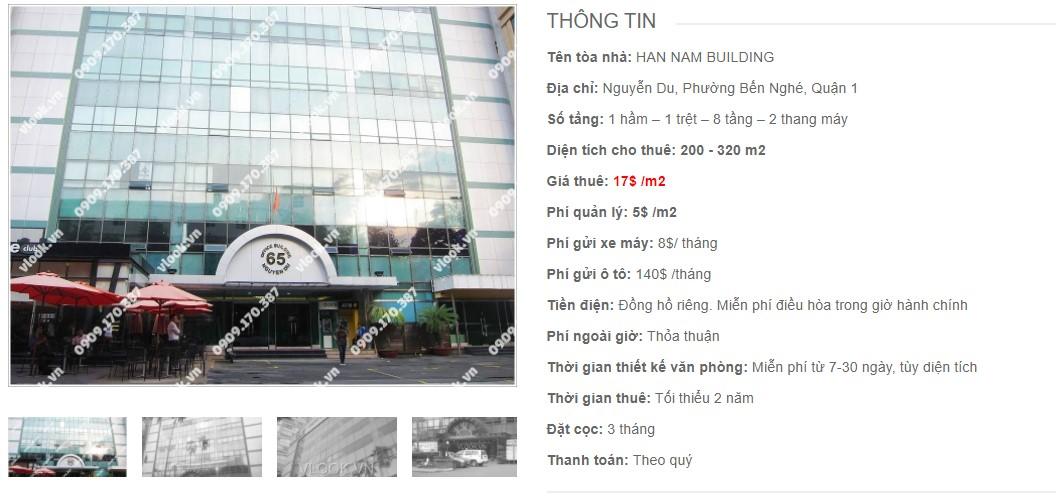 Danh sách công ty thuê văn phòng tại Han Nam Building, Quận 1