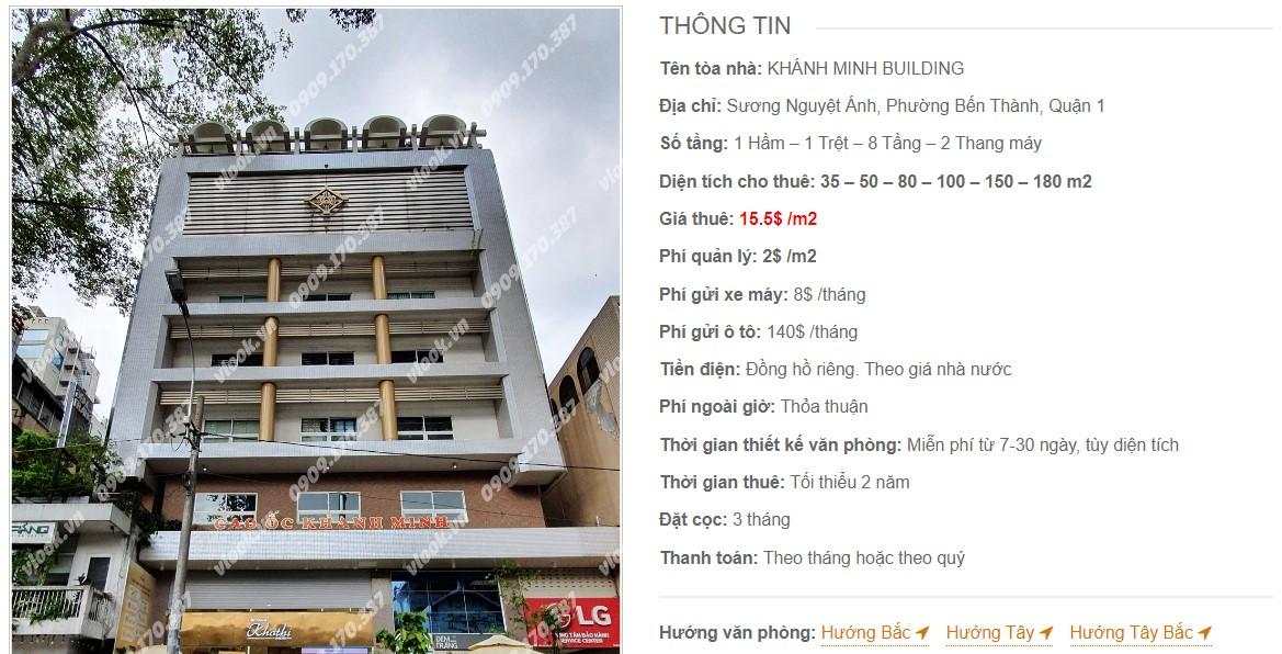 Danh sách công ty thuê văn phòng tại Khánh Minh Building, Quận 1