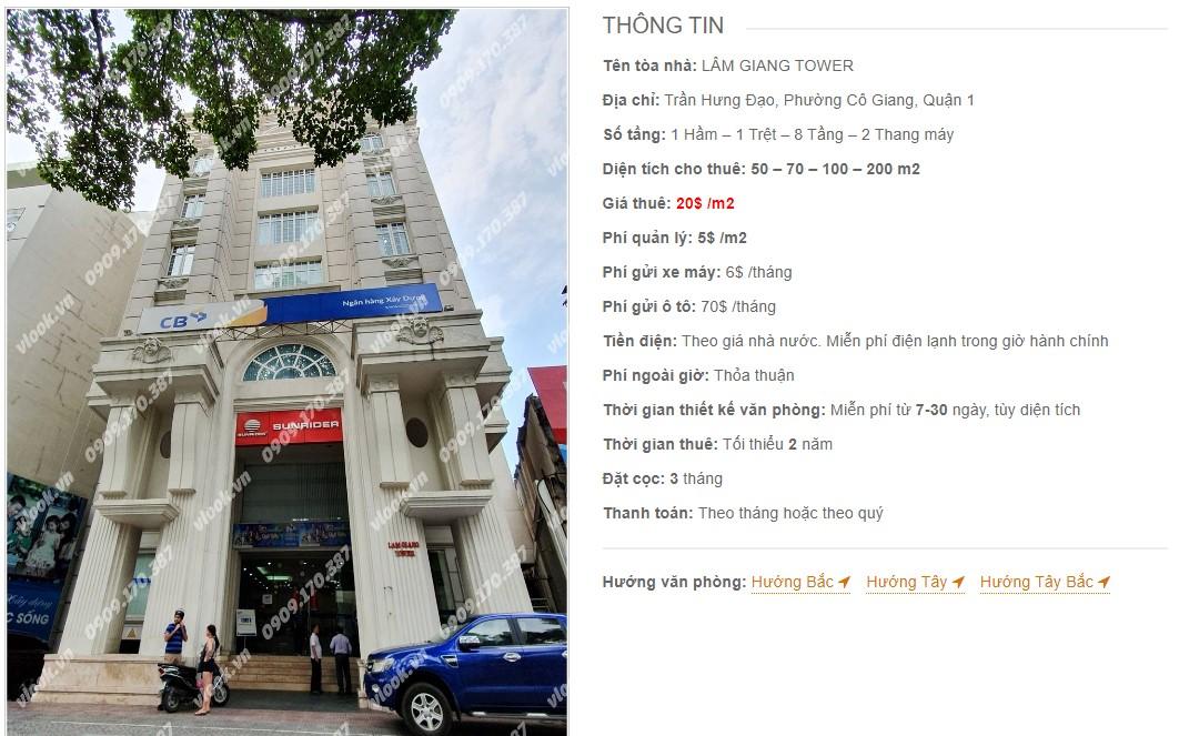 Danh sách công ty thuê văn phòng tại Lâm Giang Tower, Quận 1