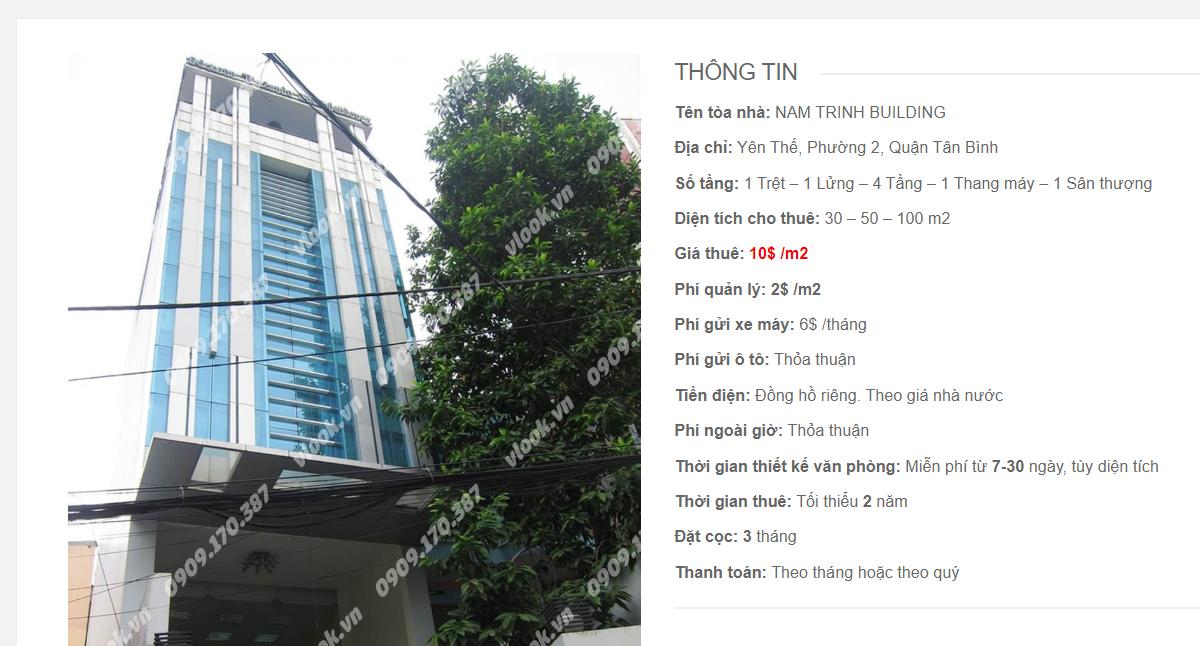 Danh sách công ty tại tòa nhà Nam Trinh Building, Yên Thế, Quận Tân Bình