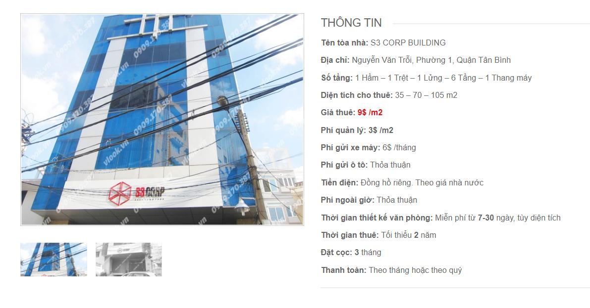 Danh sách công ty tại tòa nhà S3 Corp Building, Nguyễn Văn Trỗi, Quận Tân Bình