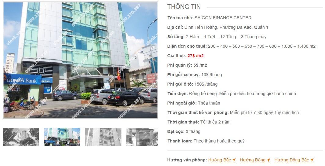 Danh sách công ty thuê văn phòng tại Saigon Finance Center, Quận 1