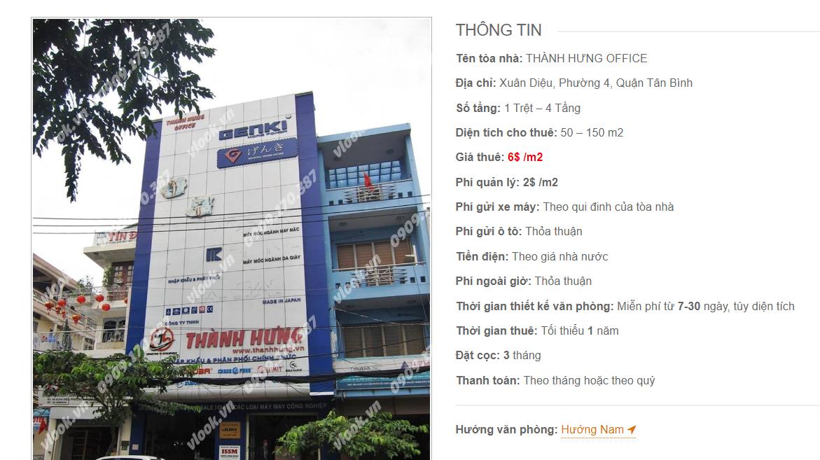 Danh sách công ty tại tòa nhà Thành Hưng Office, Xuân Diệu, Quận Tân Bình
