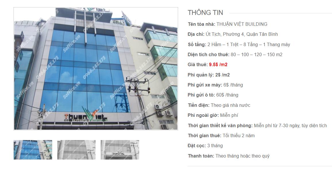 Danh sách công ty tại tòa nhà Thuận Việt Building, Út Tịch, Quận Tân Bình
