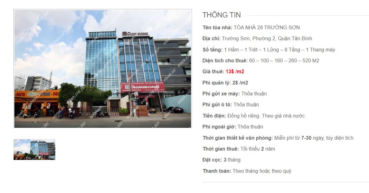 Danh sách công ty tại tòa nhà Tòa nhà 28 Trường Sơn, Trường Sơn, Quận Tân Bình