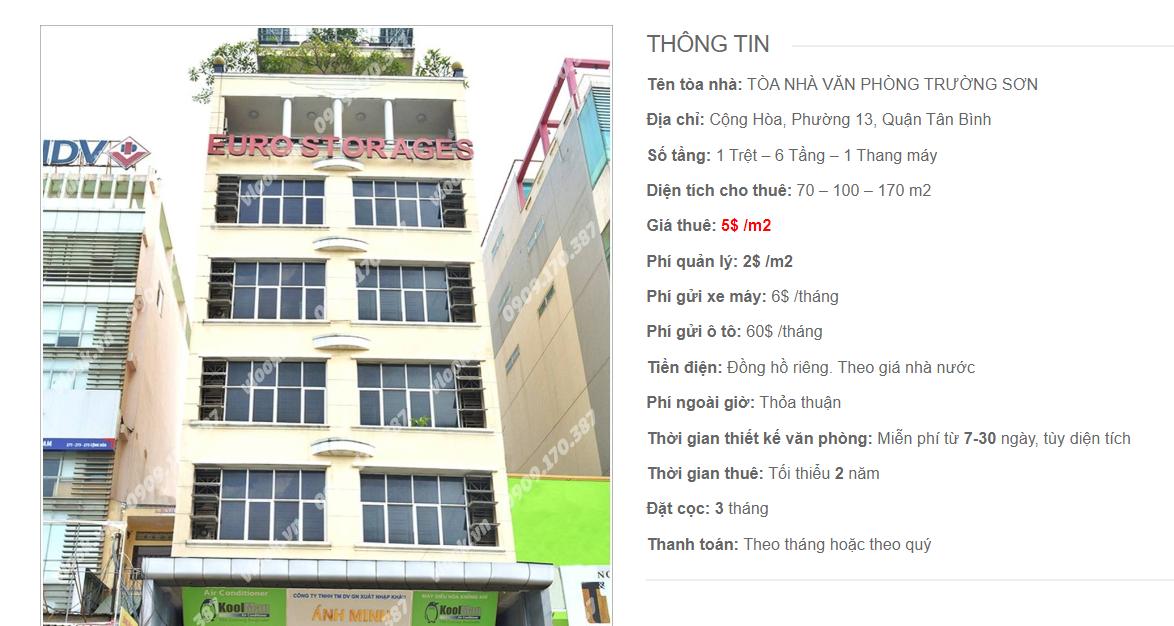 Danh sách công ty tại tòa nhà Văn Phòng Trường Sơn, Cộng Hòa, Quận Tân Bình
