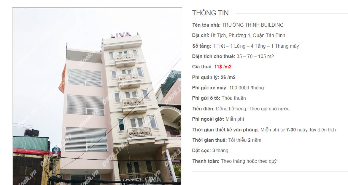 Danh sách công ty tại tòa nhà Trường Thịnh Building, Út Tịch, Quận Tân Bình