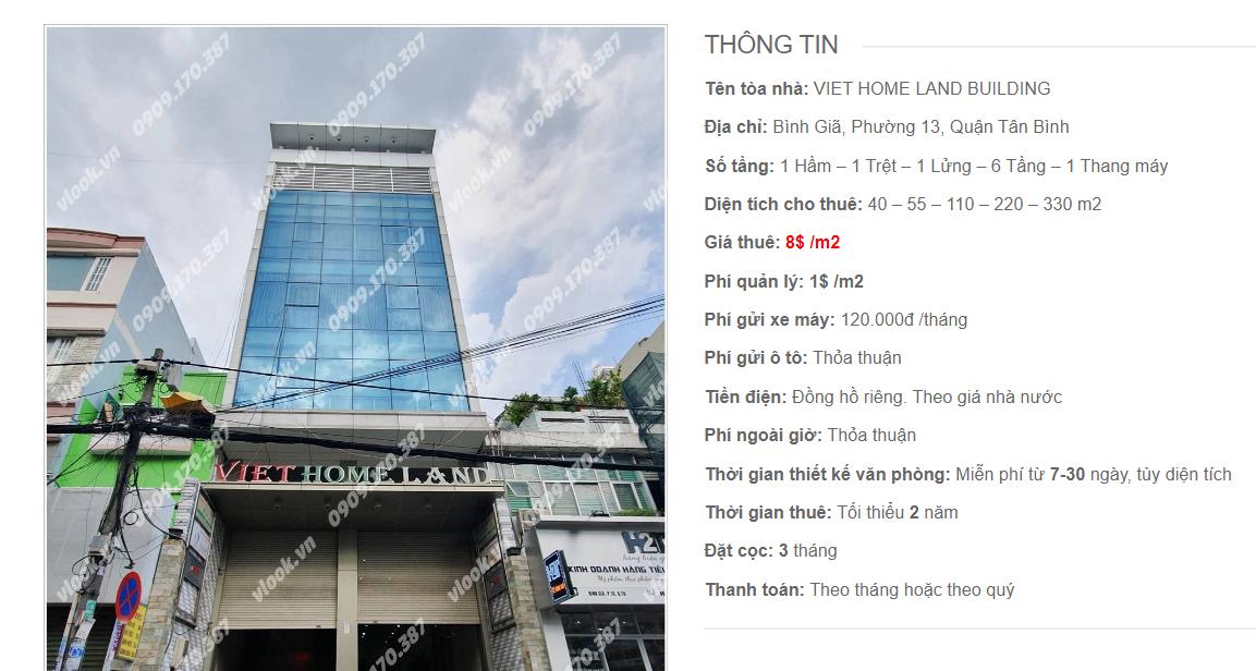Danh sách công ty tại tòa nhà Viet Home Land Building, Bình Giã, Quận Tân Bình
