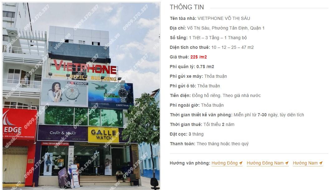 Danh sách công ty thuê văn phòng tại Vietphone Võ Thị Sáu, Quận 1