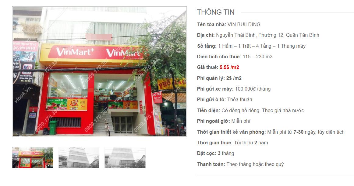 Danh sách công ty tại tòa nhà Vin Building, Nguyễn Thái Bình, Quận Tân Bình