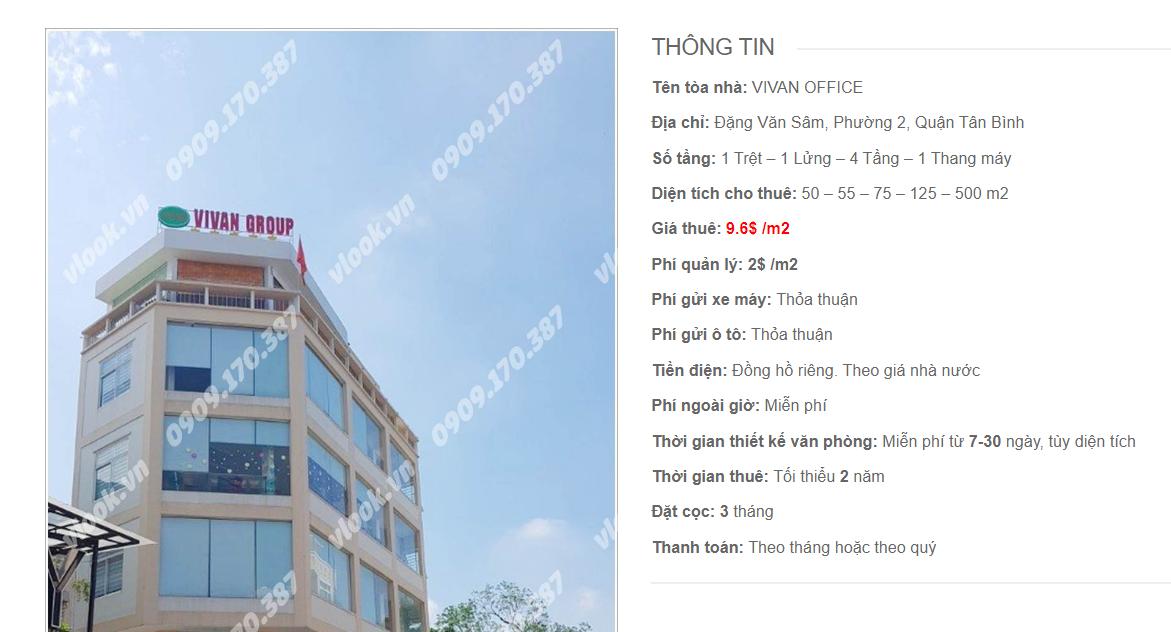 Danh sách công ty tại tòa nhà Vivan Ofice, Đặng Văn Sâm, Quận Tân Bình