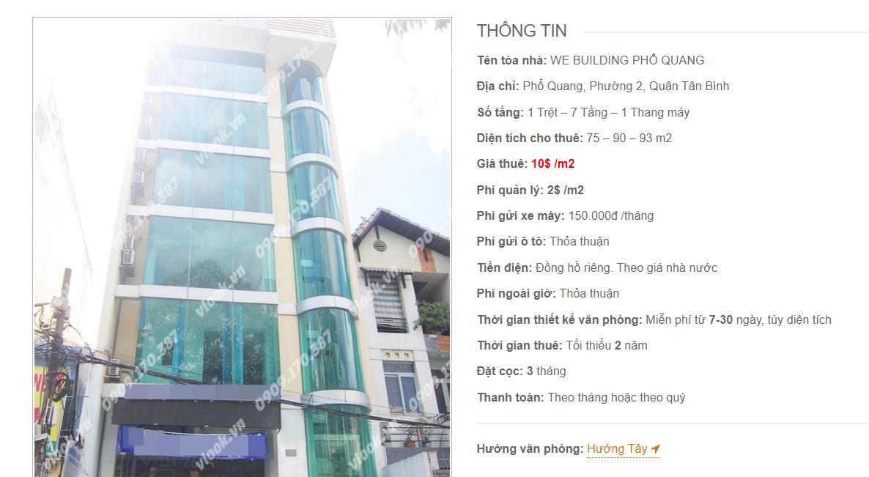 Danh sách công ty tại tòa nhà WE Building Phổ Quang, Phổ Quang, Quận Tân Bình