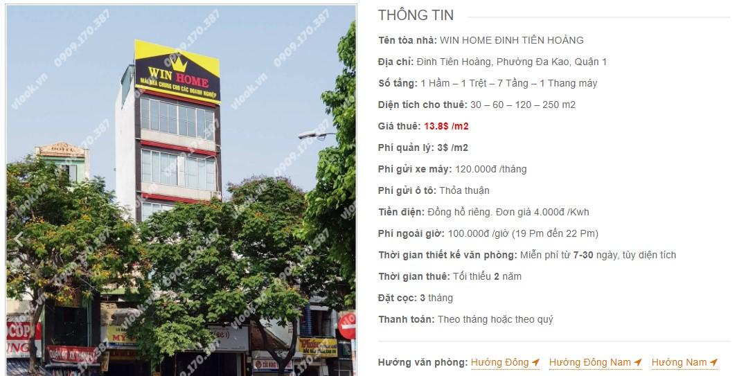 Danh sách công ty thuê văn phòng tại Win Home Đinh Tiên Hoàng, Quận 1