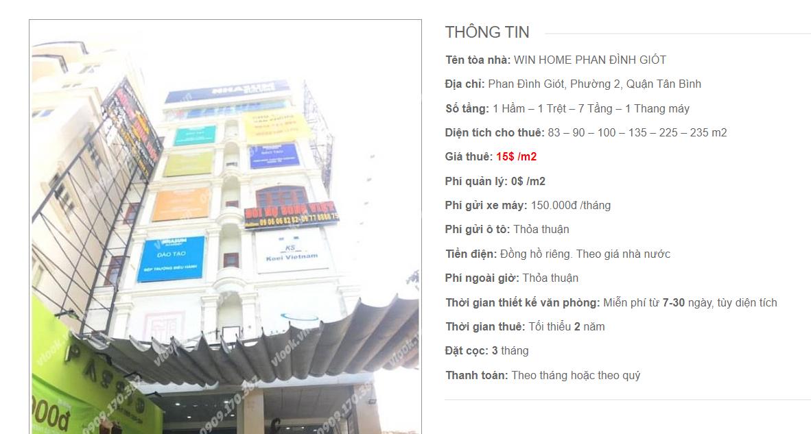Danh sách công ty tại tòa nhà Win Home Phan Đình Giót, Phan Đình Giót, Quận Tân Bình