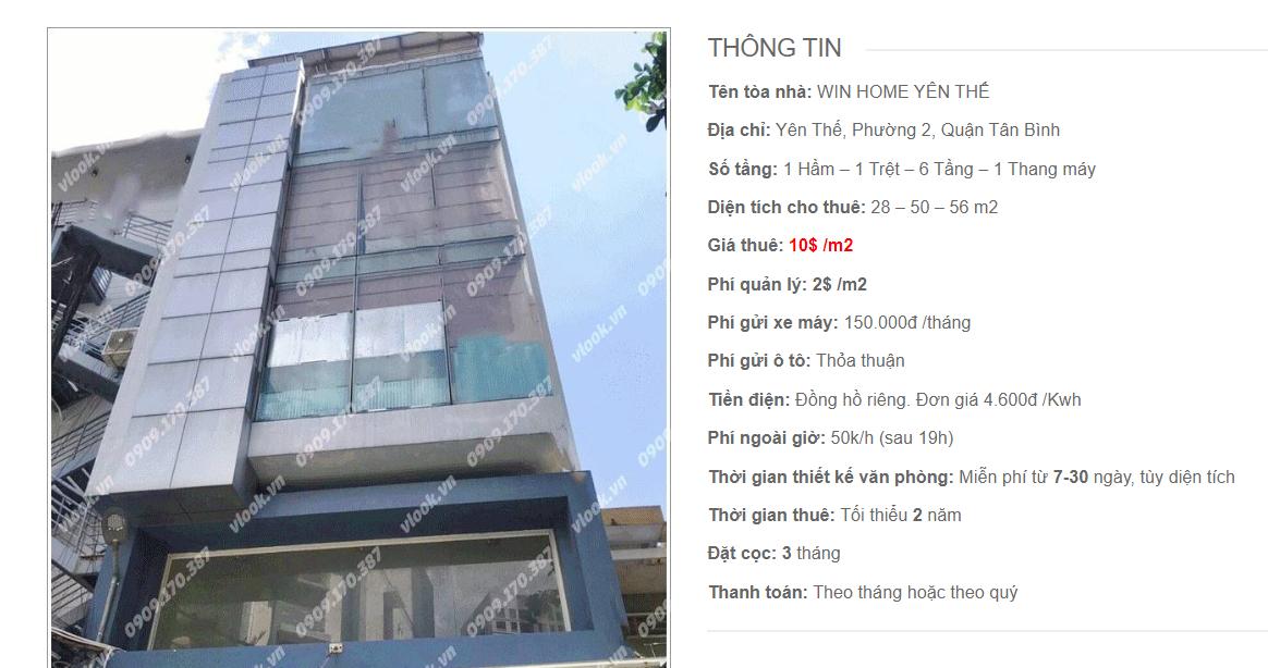 Danh sách công ty tại tòa nhà Win Home Yên Thế, Yên Thế, Quận Tân Bình