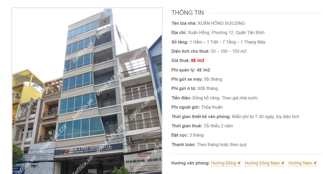 Danh sách công ty tại tòa nhà Xuân Hồng Building, Xuân Hồng, Quận Tân Bình