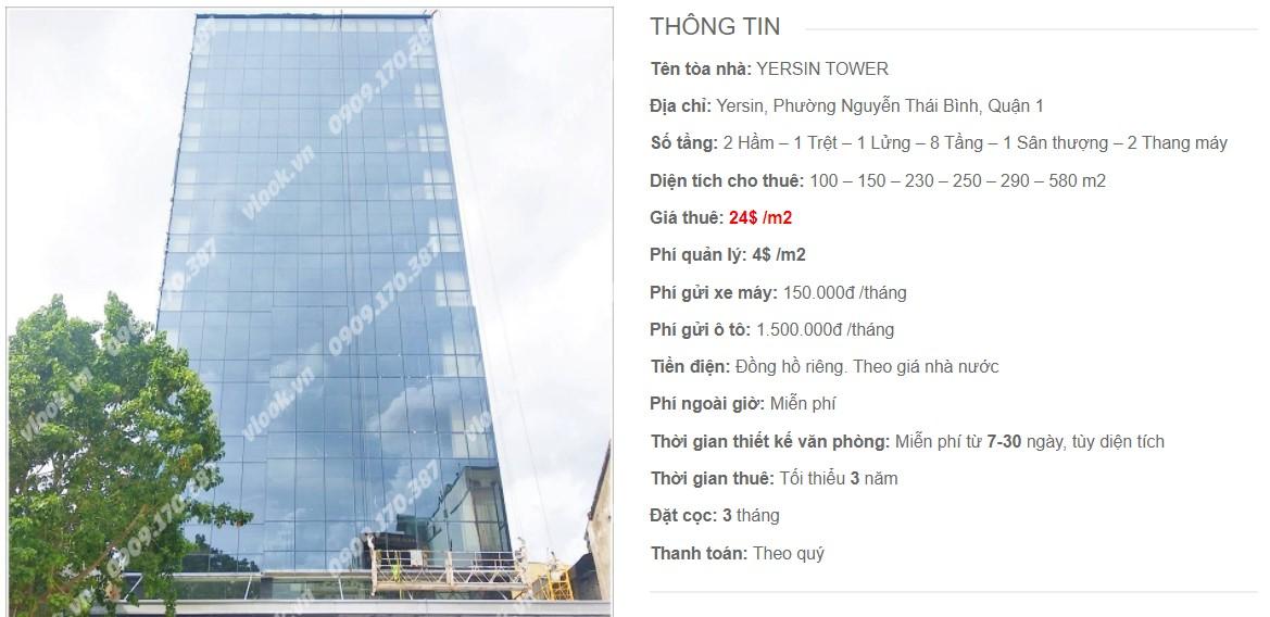 Danh sách công ty thuê văn phòng tại Yersin Tower, Quận 1