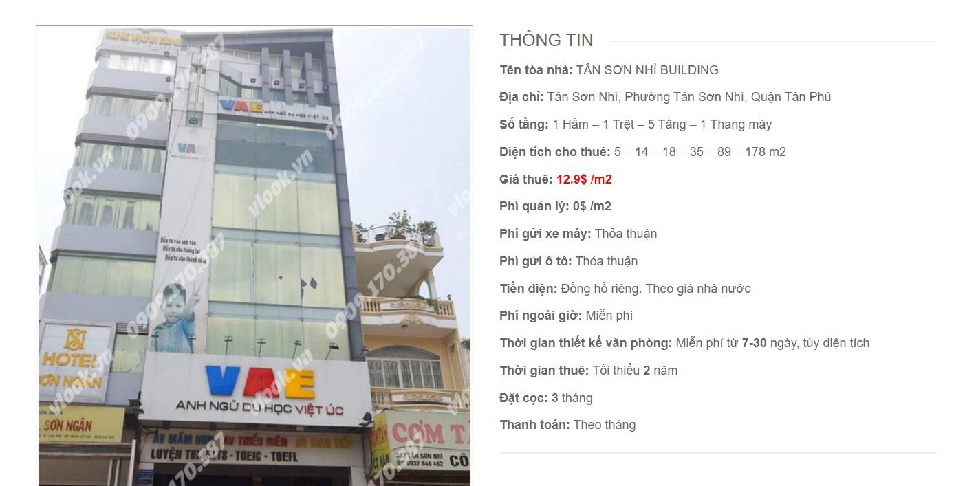 Danh sách công ty thuê văn phòng tại Tân Sơn Nhì Building, Quận Tân Phú