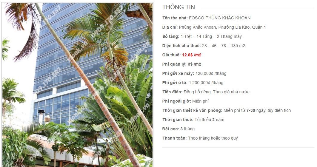 Danh sách công ty thuê văn phòng tại Fosco Phùng Khắc Khoan, Quận 1