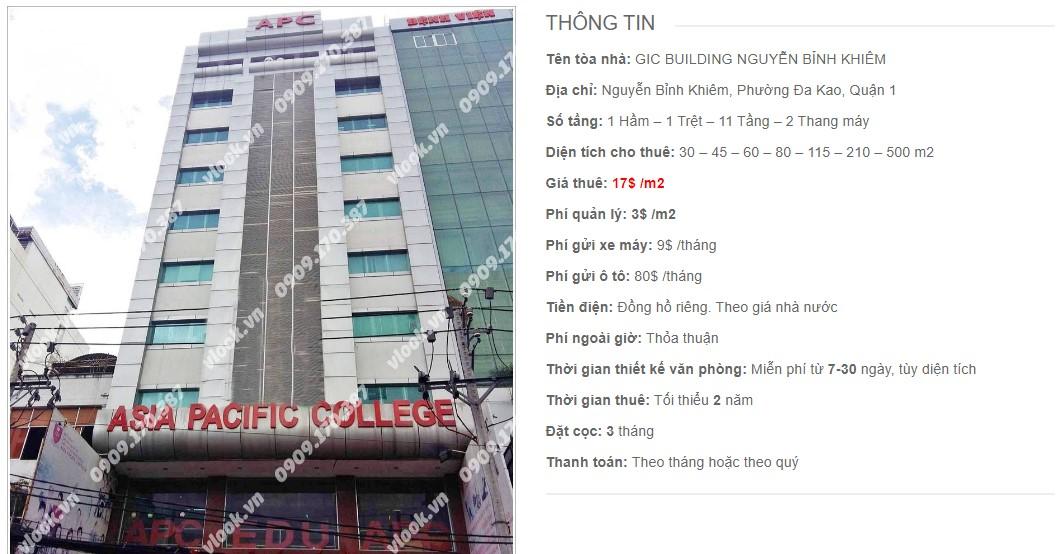 Danh sách công ty thuê văn phòng tại GIC Building Nguyễn Bỉnh Khiêm, Quận 1