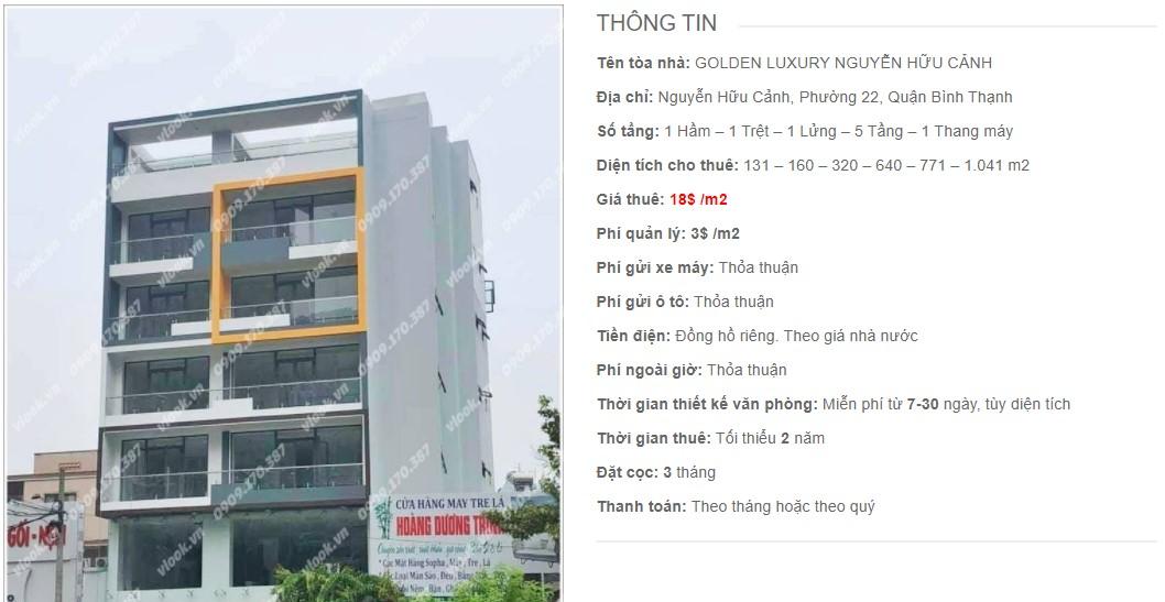 Danh sách công ty thuê văn phòng tại Golden Luxury Nguyễn Hữu Cảnh, Quận Bình Thạnh