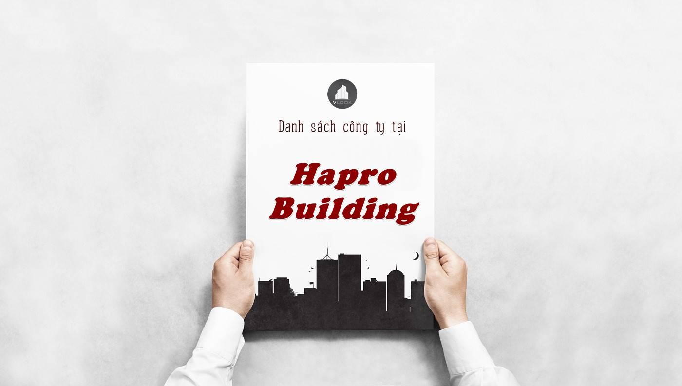 Danh sách công ty thuê văn phòng tại Hapro Building, Quận 1