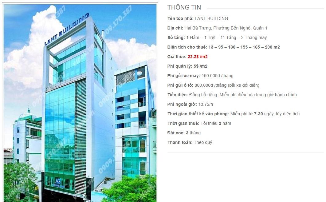 Danh sách công ty thuê văn phòng tại Lant Building, Quận 1