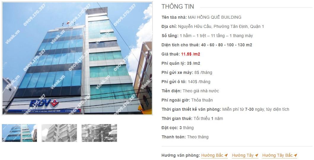 Danh sách công ty thuê văn phòng tại Mai Hồng Quế Building, Quận 1