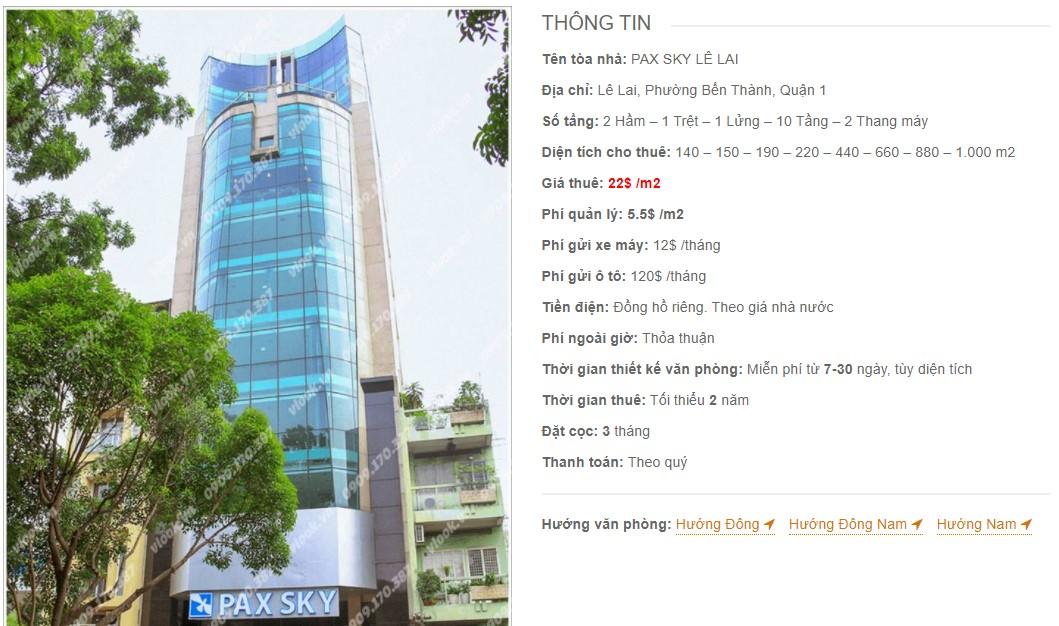 Danh sách công ty thuê văn phòng tại Pax Sky Lê Lai, Quận 1