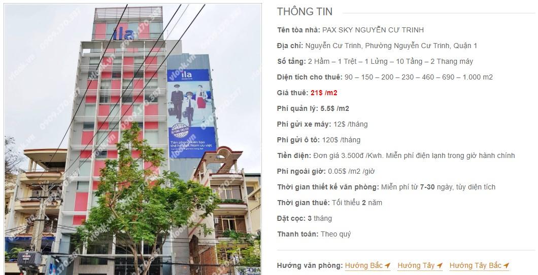 Danh sách công ty thuê văn phòng tại Pax SKy Nguyễn Cư Trinh, Quận 1