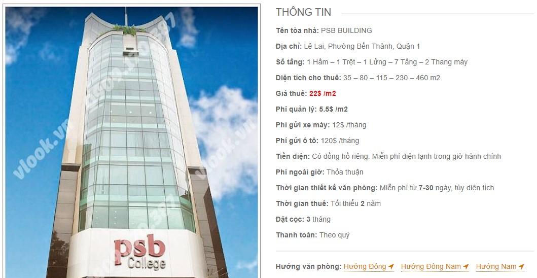 Danh sách công ty thuê văn phòng tại PSB Building, Quận 1