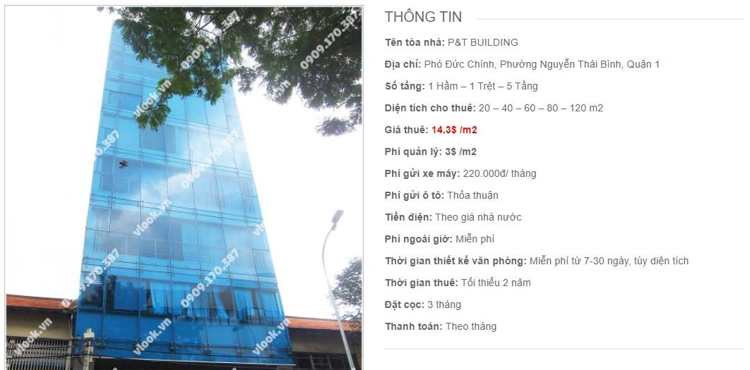 Danh sách công ty thuê văn phòng tại P&T Building, Quận 1