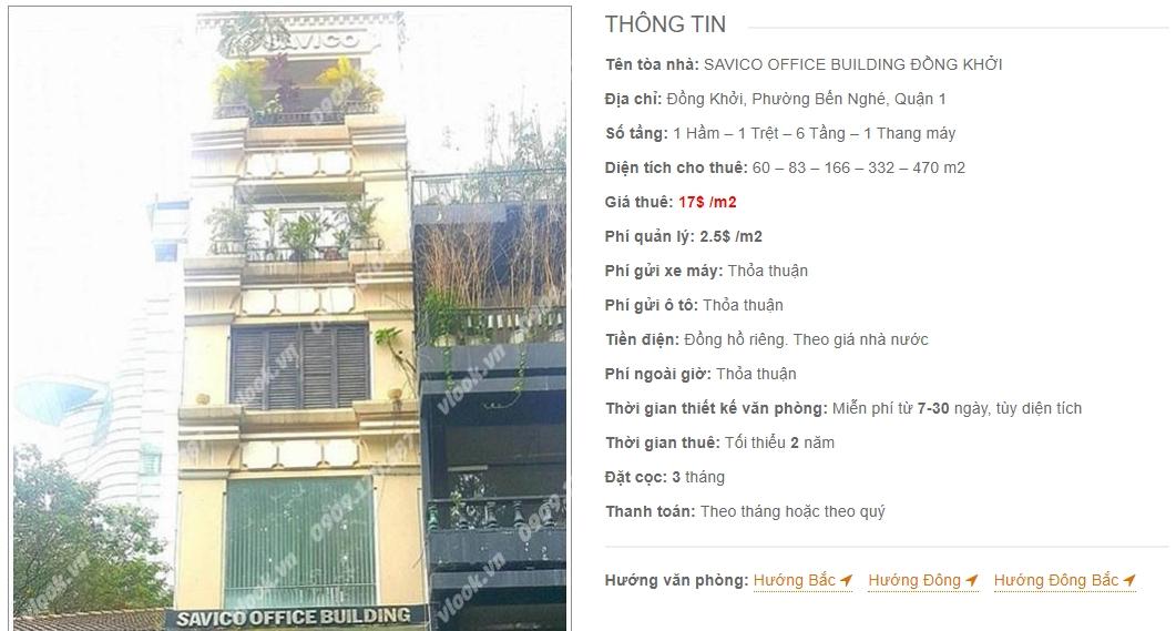 Danh sách công ty thuê văn phòng tại Savico Office Building Đồng Khởi, Quận 1